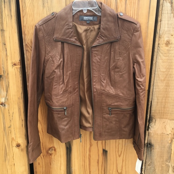 a7798f12db086 NWT Kenneth Cole Reaction Brown Leather Jacket